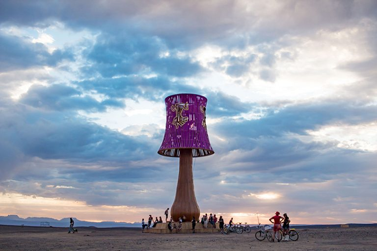 Giant lamp sculpture at Afrika Burn 2019 photo by Arash Afshar