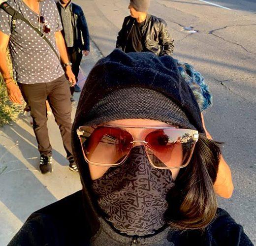 Creator Tori Massie takes a selfie leading JH crew parade on the Ignite photoshoot