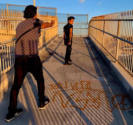 Arash Afshar giving direction to Adan Guerra for the next shot.