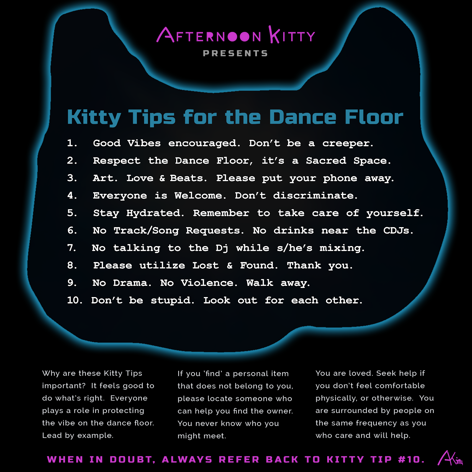Afternoon Kitty graphic; list of tips for the dance floor